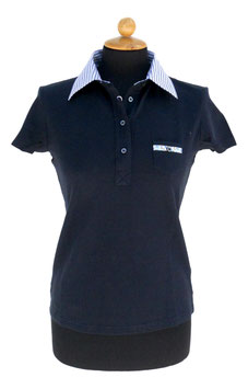 POLO DONNA C/COLLO CAMICIA E TASCHINO BLU