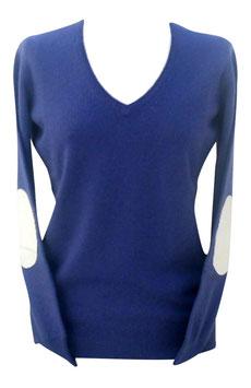 -50% Pullover tg.42 c/toppe e profili Gran Sasso in Cashmere e Lana Lavanda