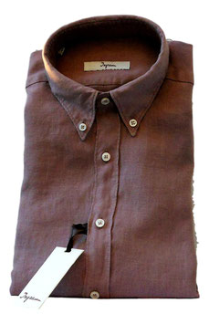 Camicia Ingram Manica Lunga Con Taschino in Puro Lino Lavato Effetto Vintage Marrone Chiaro