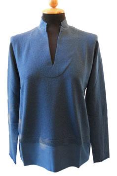 -35% Gran Sasso Donna Polo Lana E Cashmere con Collo In Seta Blu