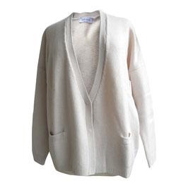 -50% Cardigan Gran Sasso c/tasche Cashmere e Lana Panna
