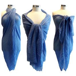 Maxi Sciarpa Pareo 180 cm x 100 cm Multiuso in Cotone e Viscosa Azzurro Polvere