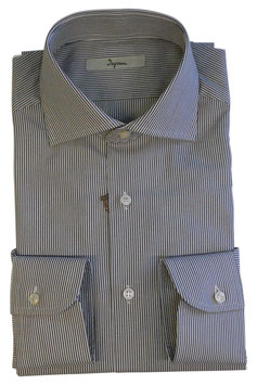 Ingram Camicia Classic Fit Riga Marrone/Bianco