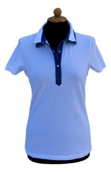 -40% Gran Sasso Polo Donna Cotone con colletto doppio Bianco/Jeans