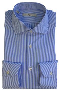Ingram Camicia Classic Fit Riga Azzurro/Bianco