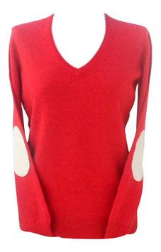 -50% Pullover Donna tg.44 Gran Sasso c/toppe e profili in Cashmere e Lana Corallo