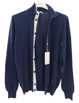 -50% Cardigan Bomber Gran Sasso Uomo Cotone Blu
