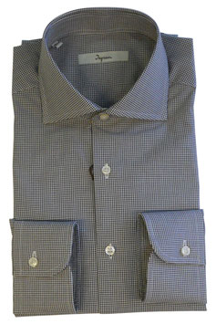 Camicia Ingram Classic Fit Micro Quadrettino Marrone / Bianco