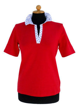 -40% Gran Sasso Polo Donna Cotone Piquet Rosso c/collo bianco a pois