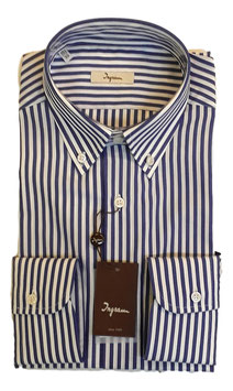 Ingram Camicia Regular Fit Riga Larga Bianco/Blu
