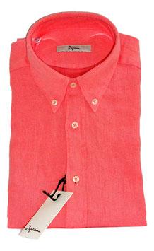 Camicia Ingram Manica Lunga Con Taschino in Puro Lino Lavato Effetto Vintage Rosa Corallo