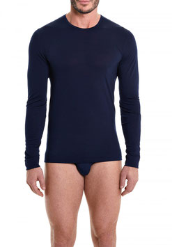 Perofil Lana Merinos T-Shirt  Manica Lunga Blu