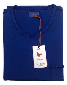 -20% Gran Sasso Vintage T-Shirt Mezza Manica con/taschino Bluette