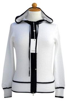 -50% Felpa Gran Sasso Donna  c/capuccio Cotone Bianco Profili Blu