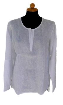 -35% Gran Sasso Camicia Girocollo Puro Lino Bianco