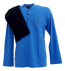 Perofil Pigiama Invernale  Uomo In Caldo Cotone Azzurro/Blu