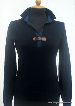 -50% Gran Sasso Polo Dona c/alamaro Lana Merinos Extra Fine Blu