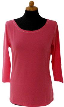 -35% Gran Sasso Donna Maglietta Manica 3/4 Collo Barchetta con Cristalli di Swarovski Rosa