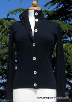 -50% Gran Sasso Donna Cardigan Bottoni Cotone Blu