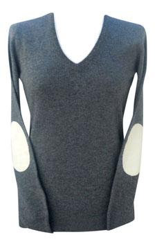 -30% Pullover Donna c/toppe e profili Gran Sasso Cashmere e Lana Grigio