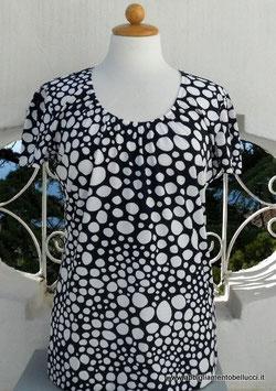 -50% Gran Sasso Maglietta Donna Girocollo  Pois Degradè Blu/Bianco
