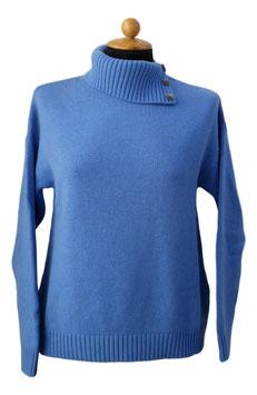 Gran Sasso Donna Dolcevita Misto Cashmere 3 fili Collo con bottoni Azzurro