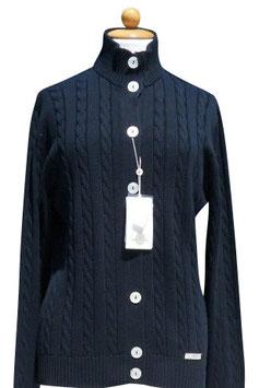 -50% Gran Sasso Donna Cardigan tg.50 Bottoni Trecce Cotone Blu