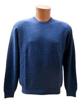 -35% Maglione Gran Sasso Uomo Blu Jeans Cashmere e Lana Con  Toppe Scozzese