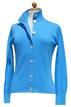 -50% Gran Sasso Donna Cardigan Bottoni Cotone Azzurro