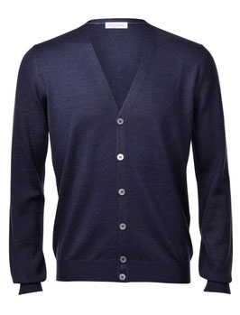 -20% Gran Sasso Cardigan Blu Slim Fit Lana Merinos Extra Fine