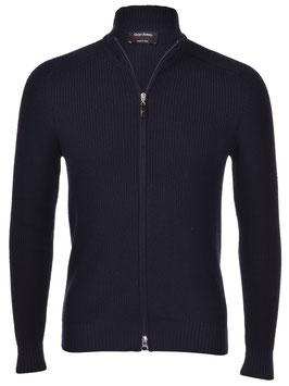 -35% Gran Sasso Giubbino Zip Blu Lana Rain Wool