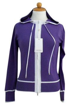 -50% Felpa Gran Sasso Donna  c/capuccio Cotone Viola Profili Bianco