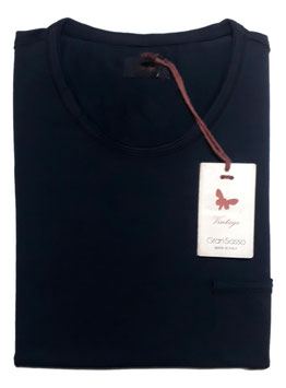 -20% Gran Sasso Vintage T-Shirt Mezza Manica con/taschino Blu Notte