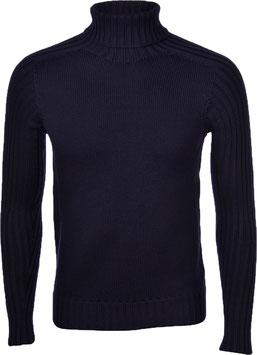 -50% Gran Sasso Solo tg.46 Dolcevita Uomo Rain Wool Blu Notte