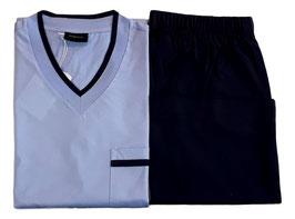 Perofil Pigiama Corto Scollo a V Cotone Basic Azzurro