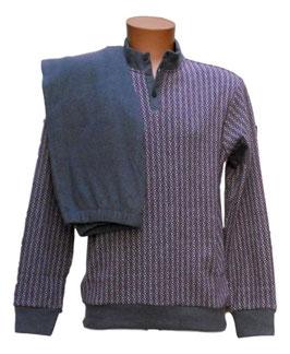 -30% Perofil Pigiama Serafino Collo Alto Con Polsi Soft Cotton Micro Prugna