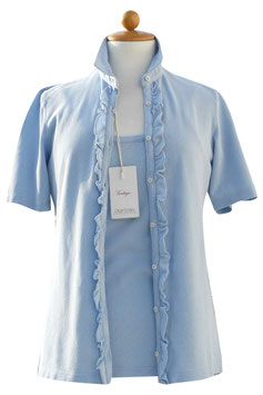 -50% Gran Sasso  Vintage Donna Twin Set Cotone Celeste