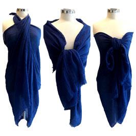 Maxi Sciarpa Pareo 180 cm x 100 cm Multiuso in Cotone e Viscosa  Blu Royal