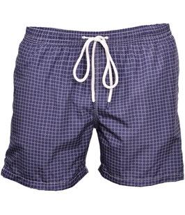 -25% Gran Sasso Costume  Uomo Da Bagno  Boxer Fantasia Geometrica Blu/Bianco con taschino-poschette