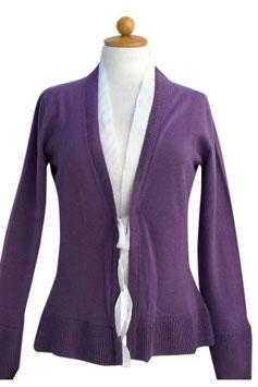 -50% Gran Sasso Donna Cardigan Cotone Viola/Bianco