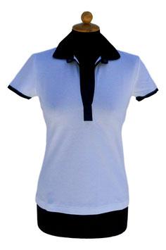 -40% Gran Sasso Polo Donna c/collo in Seta e Swarovski Bianco/Blu