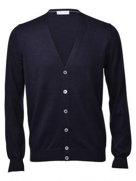 -20% Gran Sasso Cardigan Blu Notte Slim Fit Lana Merinos Extra Fine