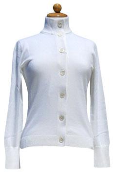 -50% Gran Sasso Donna Cardigan Bottoni Cotone Bianco