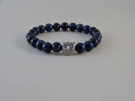 Armband Blaues Tigerauge & Eule