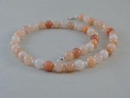 Halskette - Aventurin in Apricot-Tönen & Süßwasser-Perlen