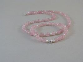 Armband und Halskette - Rosenquarz trifft Zuchtperlen