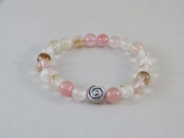 Armband - Cherry-Quarzmix - Rosa/Natur