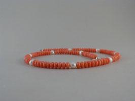 Halskette - Koralle und Süsswasserperlen