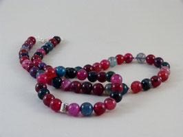 Armband und Halskette - Achat in Grün-Petrol & Beerentönen