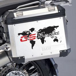 Aufkleber Weltkarte GS Adventure auf Koffer